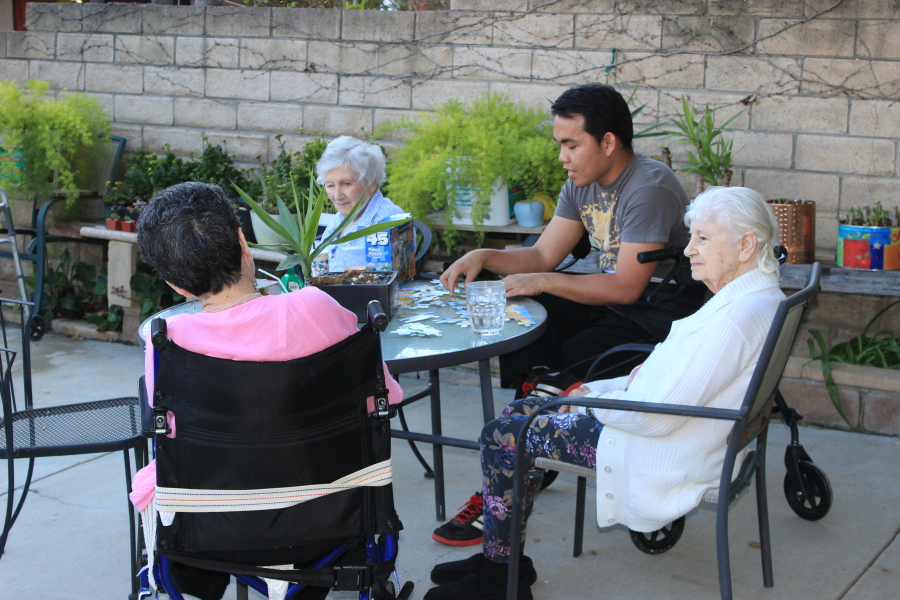 caretaker with residents